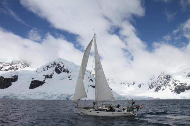 Mina2 sailing in Paradise Harbour, Antarctica