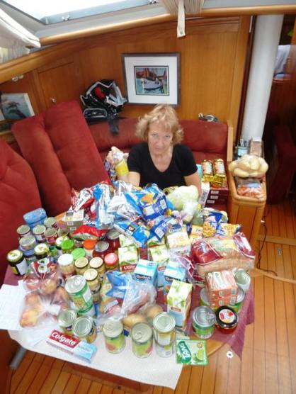 Quartermaster Sally with the unenviable task of stowing six weeks worth of provisions - this is only as small part of it
