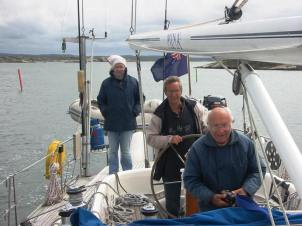 The skipper with his octagenarian parents