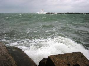 Ventspils harbour entrance – glad we weren't out there