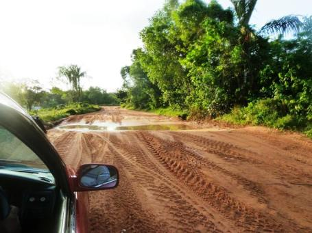 The rough road out to the airstrip