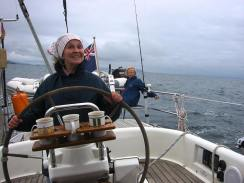The skipper's mum, Noel, at the helm ...