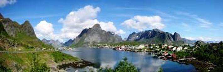 Panorama of Reine - one of the most spectacular anchorages in the Lofotens